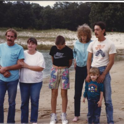 1989-Randy, Trudy, Nathan, Becky,  Joe, & Becky, Alisha, & Joe are baptized in the pond at Pioneer Campground.